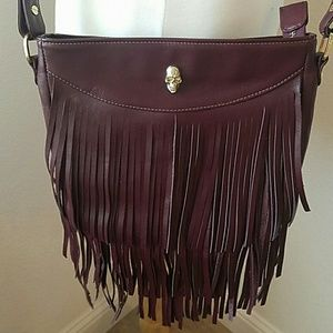 Prison Art maroon fringe leather crossbody bag